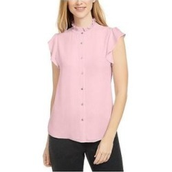 Calvin Klein Women's Ruffled Mock-Neck Blouse Pink Size Large (Pink) found on Bargain Bro Philippines from Overstock for $19.50