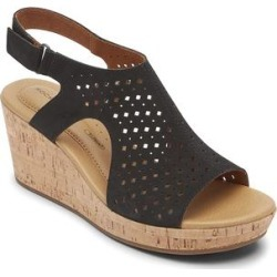 Rockport Women's Sandals BLACK - Black Perforated Lyla Hood Leather Wedge Sandal - Women found on Bargain Bro India from zulily.com for $26.99