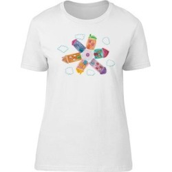 Colorful Houses In The Clouds Tee Women's -Image by Shutterstock (XXL), White(cotton, Graphic)