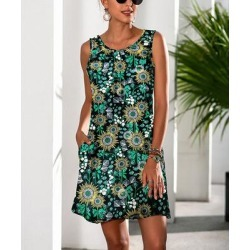Camisa Women's Casual Dresses Multicolor - Black & Green Sunflower Pocket Sleeveless Dress - Women found on Bargain Bro from zulily.com for USD $12.91
