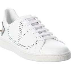 Valentino Vlogo Signature Leather Sneaker (38.5), Women's, White found on Bargain Bro Philippines from Overstock for $626.99