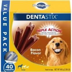 Pedigree Dentastix Bacon Flavor Large Dental Dog Treats, 40 count