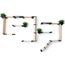 CatastrophiCreations Garden Complex Wall Mounted Cat Tree Shelf Set with Cat Grass Planter, Onyx/Natural