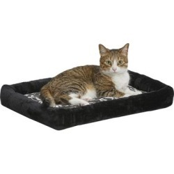 Midwest Quiet Time Couture Sofia Bolster Black Floral Dog Bed, 22
