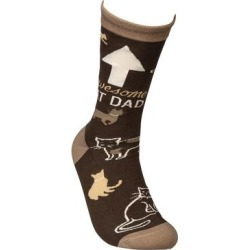 Primitives by Kathy Socks - Brown 'Awesome Cat Dad' Socks - Adult found on Bargain Bro Philippines from zulily.com for $7.99