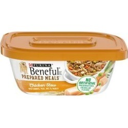 Purina Beneful Prepared Meals Chicken Stew with Rice, Carrots, Peas & Barley Wet Dog Food, 10-oz, case of 8 found on Bargain Bro from Chewy.com for USD $10.20