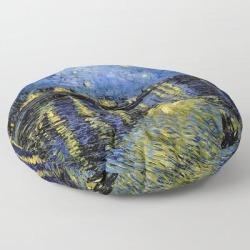 Floor Pillow   Vincent Van Gogh Starry Night by Purevintagelove - ROUND - 30