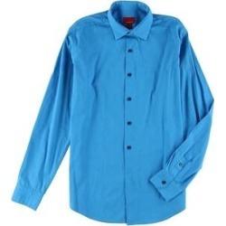 Alfani Mens Solid Slim-Fit Button Up Dress Shirt (Blue - 15.5