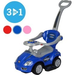 Chrome Wheels 3 in 1 Ride on Mega Car for Toddlers With Pushing Handle & Horn - Blue