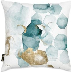 Oliver Gal 'Pebbles in the River Peacock'DecorativeThrow Pillow, Gold, Oliver Gal Artist Co.(Microfiber, Abstract) found on Bargain Bro from Overstock for USD $39.35