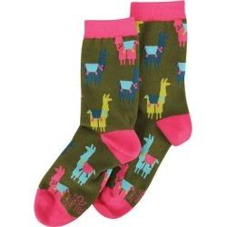 Karma Socks Llama - Green & Pink Llama Socks - Adult