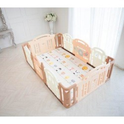 Dwinguler Castle Playpen Safety GatePlastic in White/Brown, Size 30.8 H x 94.0 W x 59.0 D in   Wayfair PDC-L1-001 found on Bargain Bro Philippines from Wayfair for $407.94