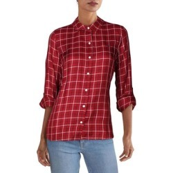 Tommy Hilfiger Womens Button-Down Top Check Print Plaid - Red found on Bargain Bro from Overstock for USD $22.47