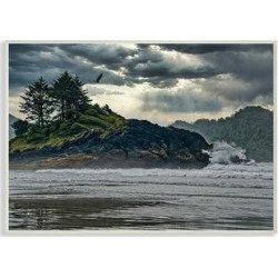 Stupell Industries Canvases - Waves Crashing into Island Rustic Landscape Wall Art