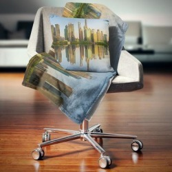 Designart 'Shanghai Huangpu River at Sunset' Cityscape Throw Blanket (71 in. x 59 in.), Brown, DESIGN ART found on Bargain Bro from Overstock for USD $40.37