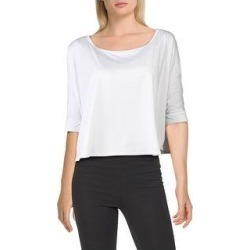 Splendid Women's Striped Oversized 3/4 Sleeve Activewear Fitness Crop Top (White - XS)(nylon) found on Bargain Bro from Overstock for USD $11.51