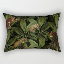 Rectangular Pillow | Monkey Vintage Botanical Night Jungle Garden by Art & Vintage & Love - Small (17