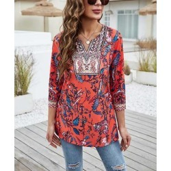 Camisa Women's Blouses Red - Red Floral Contrast Notch-Neck Top - Women found on Bargain Bro from zulily.com for USD $15.19