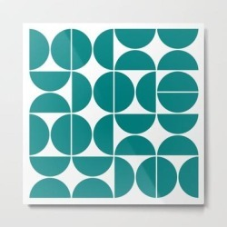 Metal Art Print | Mid Century Modern Geometric 04 Teal by The Old Art Studio - LARGE - Society6 found on Bargain Bro India from Society6 for $132.79