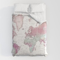 Comforters | World Map Wall Art [pink Hues] by Kokua Design Company - Queen: 88