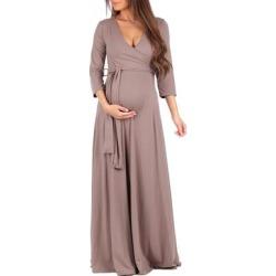 Mother Bee Maternity Women's Maxi Dresses Mocha - Mocha Tie-Waist Surplice Maternity Maxi Dress found on Bargain Bro from zulily.com for USD $15.19