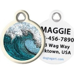 Dog Tag Art Wave Personalized Dog & Cat ID Tag, Large