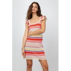June Striped Ruffle Sleeve Open Knit Sweater Dress - Orange - Rails Dresses found on Bargain Bro from lyst.com for USD $53.20