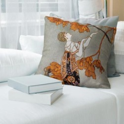 Porch & Den George Barbier 'Woman in Gray' Throw Pillow found on Bargain Bro from Overstock for USD $41.03