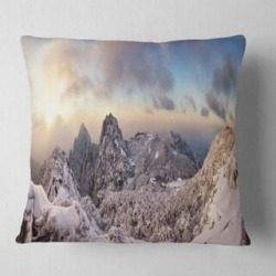 Designart 'Huangshan Hill Snow in Winter' Landscape Wall Throw Pillow (Square - 16 in. x 16 in. - Small), White, DESIGN ART(Polyester, Nature) found on Bargain Bro from Overstock for USD $26.59