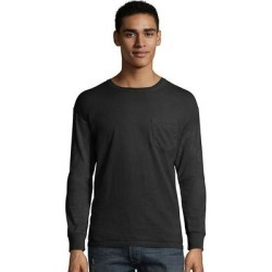 Hanes mens ComfortWash Garment Dyed Long Sleeve Pocket Tee (GDH250 GRTDYE) (m), Men's, Black found on Bargain Bro India from Overstock for $13.58