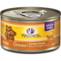Wellness Natural Grain Free Gravies Chicken Dinner Canned Cat Food, 3-oz, case of 12