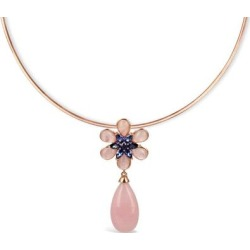 Rose Quartz Flower Necklace - Metallic - Bellus Domina Necklaces found on Bargain Bro Philippines from lyst.com for $314.00