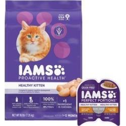 Iams ProActive Health Kitten Dry Food + Perfect Portions Healthy Kitten Chicken Recipe Pate Grain-Free Cat Food Trays