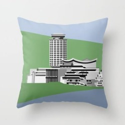 "Soviet Modernism: Youth Palace In Yerevan, Armenia Couch Throw Pillow by Nvard Yerkanian - Cover (16"" x 16"") with pillow insert - Indoor Pillow"