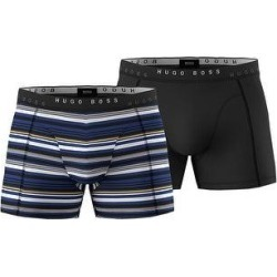 petite BOSS By Hugo Boss Mens 2-Pack Boxer Briefs With Logo Waistbands XL Blue/Black (XL), Men's(cotton, solid) found on MODAPINS from Overstock for USD $41.42