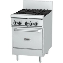 """Garland GFE24-2G12L Natural Gas 2 Burner 24"""" Range with Flame Failure Protection and Electric Spark Ignition, 12"""" Griddle, and Space Saver Oven - 120V, 102,000 BTU"""