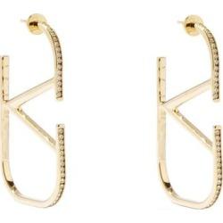 V-logo Crystal Hoop Earrings - Metallic - Valentino Garavani Earrings found on Bargain Bro from lyst.com for USD $372.40