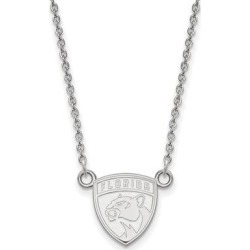 14K White gold NHL LogoArt Florida Panthers Small Pendant with Necklace by Versil (Size: 18 Inch - White), Women's found on Bargain Bro Philippines from Overstock for $491.99