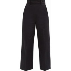 High-rise Cropped Cotton-twill Trousers - Black - MSGM Pants found on MODAPINS from lyst.com for USD $325.00