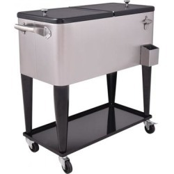 Costway 80 Quart Patio Rolling Stainless Steel Ice Beverage Cooler found on Bargain Bro India from Costway for $219.95