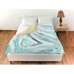Oliver Gal 'Iced Geo Turquoise'Duvet Cover (Twin), Blue, The Oliver Gal Artist Co. found on Bargain Bro from Overstock for USD $91.72