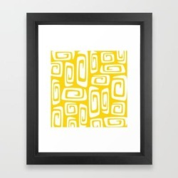 Framed Art Print | Mid Century Modern Cosmic Abstract 612 Yellow by Tony Magner - Vector Black - X-Small-10x12 - Society6 found on Bargain Bro Philippines from Society6 for $33.59