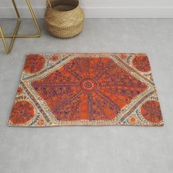 Modern Throw Rug | Orange Wildflower Sunshine Ii // 18th Century Colorful Rusty Red Bright Blue Metallic Happy Pattern by Vintagetribalprints - 2' x 3' - Society6 found on Bargain Bro India from Society6 for $34.30