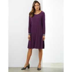 Haband Women's Swing Knit Dress with Embellished Cuffs, Plum, Size Misses, XL found on Bargain Bro Philippines from Haband for $54.99