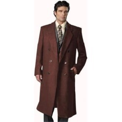 Men's 6 Button Dark Brown Fully Lined Long Coat By Alberto Nardoni Brand Designer (Dark Brown - 46L)(polyester) found on MODAPINS from Overstock for USD $170.00