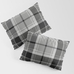 King Size Pillow Sham | Black & White Tartan (var. 2) by Pixel404 - STANDARD SET OF 2 - Cotton - Society6 found on Bargain Bro from Society6 for USD $30.39