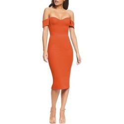 Bailey Off The Shoulder Body-con Dress - Orange - Dress the Population Dresses