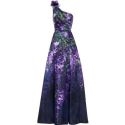 One-shoulder Appliquéd Floral-print Duchesse-satin Gown - Purple - Marchesa notte Dresses found on MODAPINS from lyst.com for USD $448.00