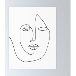 Mini Art Print | Abstract Face One Line Art by Marssuart - Without Stand - 3