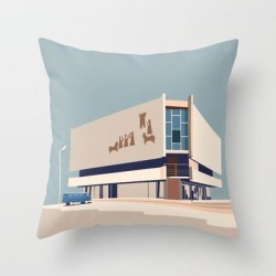"Soviet Modernism: Chess House In Yerevan Couch Throw Pillow by Nvard Yerkanian - Cover (16"" x 16"") with pillow insert - Indoor Pillow"